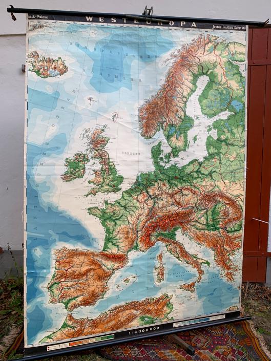Vintage Schaubild / Schultafel Westeuropa