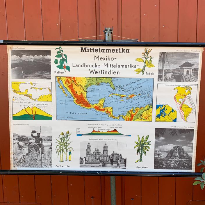 Vintage Schaubild / Schultafel Mittelamerika Mexiko Westindien