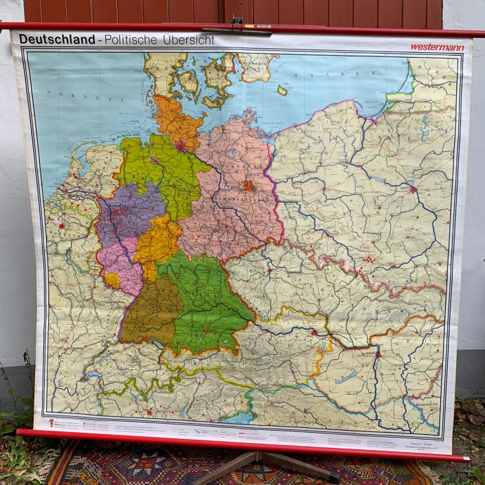 Vintage Schaubild / Schultafel Deutschland Politische Übersicht