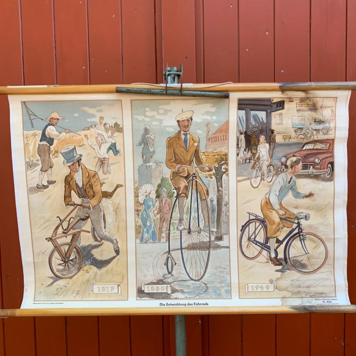 Vintage Schaubild / Schultafel Die Entwicklung des Fahrrads