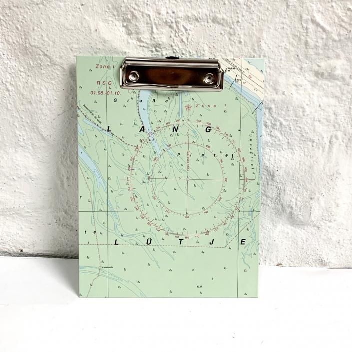 A5 Klemmbrett mit zart grüner Seekarte