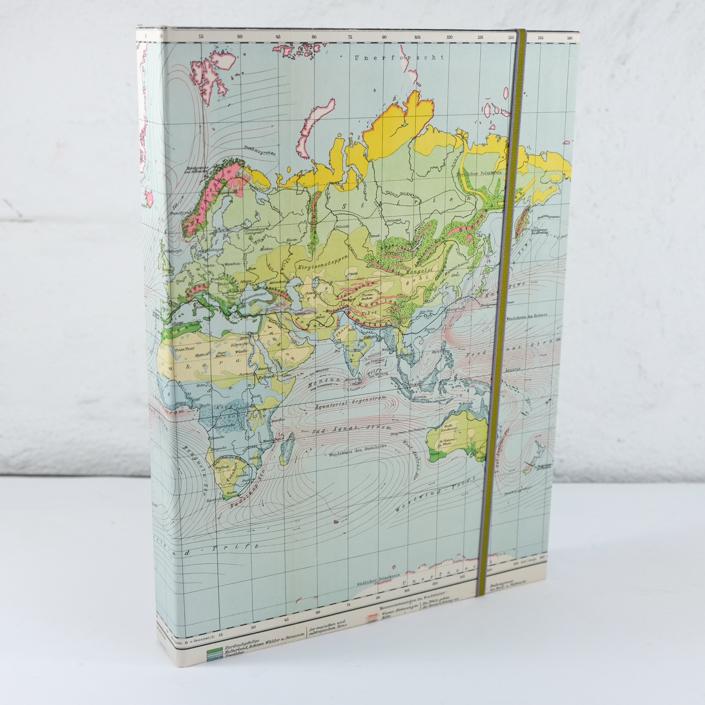 Schatulle für wichtige Fotos und Briefe in Din A4 + mit alter Weltkarte in Patell