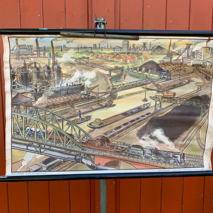 Vintage Schaubild / Schultafel Kohleabbau im Ruhrgebiet