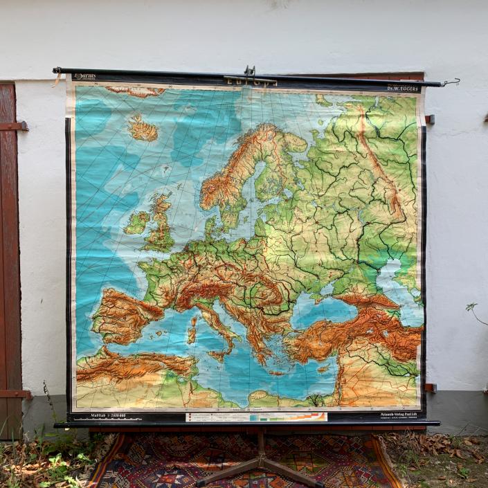 Vintage Schaubild / Schultafel Europa