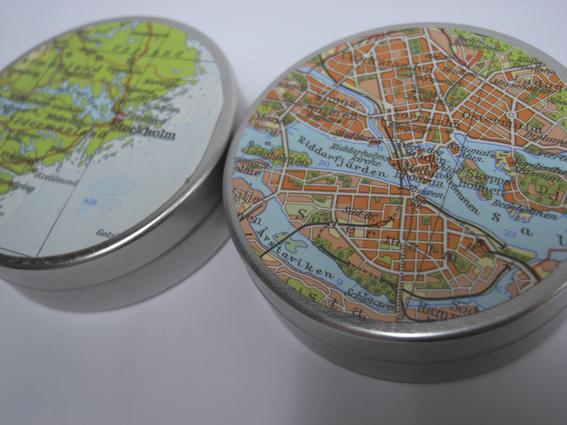 Dosen mit Stockholm und Zentrum