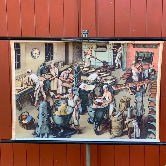 Vintage Schaubild / Schultafel Bäckerei Beruf Becker