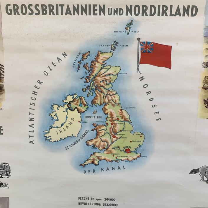 Vintage Schaubild / Schultafel Grossbritannien und Nordirland