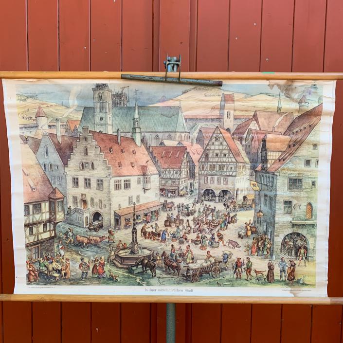 Vintage Schaubild / Schultafe Mittelalterliche Stadt