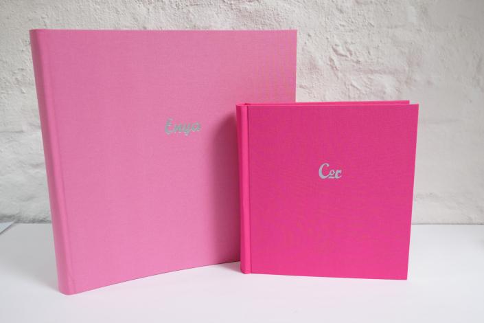 himbeer in 35x35cm und pink in 22x24 cm