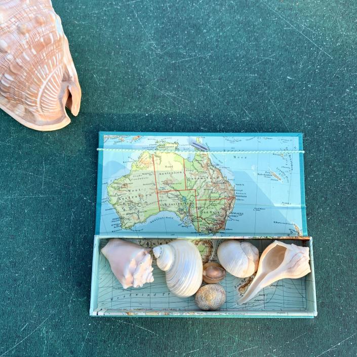 Australien Etui mit sehr alter Landkarte.