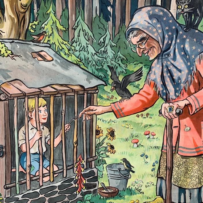 Vintage Schaubild / Schultafel Märchen - Hänsel und Gretel