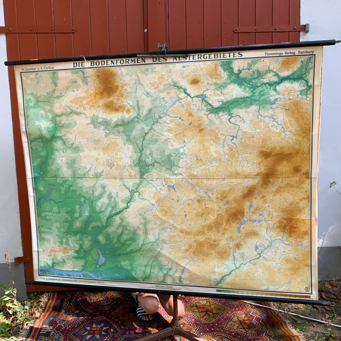Vintage Schaubild / Schultafel Die Bodenformen des Alstergebietes