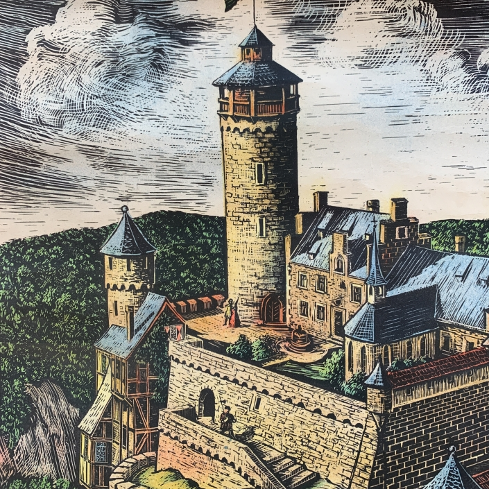 Vintage Schaubild / Schultafel Ritterburg Mittelalter
