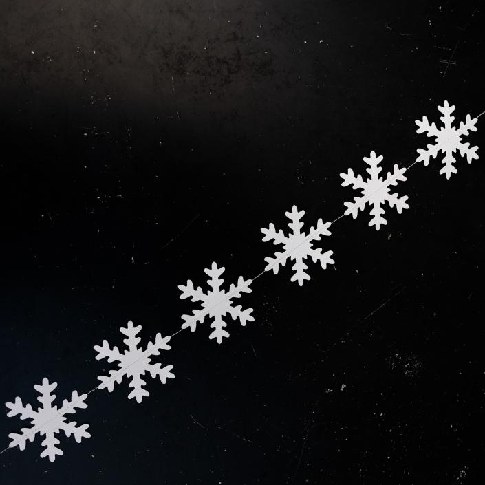 Weiße Schneekette aus Papier, Schnee Girlande 1,5 Meter.