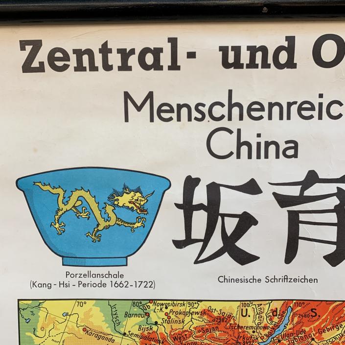Vintage Schaubild / Schultafel Zentral- und Ostasien