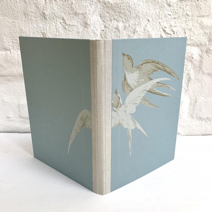 A4 Mappe Vögel blaugrau