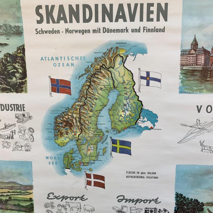 Vintage Schaubild / Schultafel Skandinavien