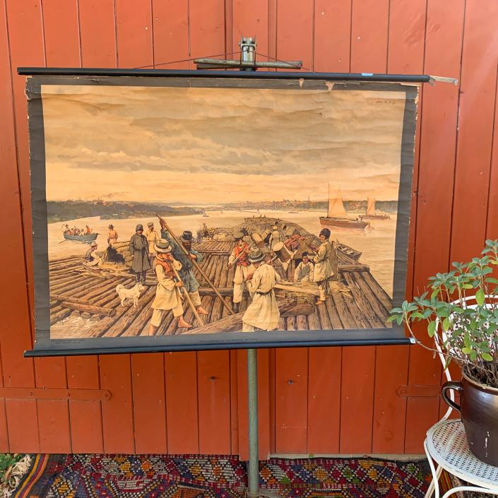 Vintage Schaubild / Schultafel Holzflösserei auf der Weichsel