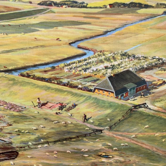 Vintage Schaubild / Schultafel Landgewinnung an der Nordseeküste