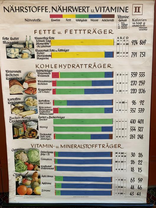 Vintage Schaubild / Schultafel Lebensmitteltabelle