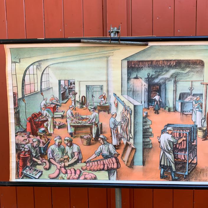 Vintage Schaubild / Schultafel Fleischerei - Fleischverarbeitung